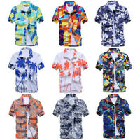 Mens Short Sleeve Hawaiian Shirts Summer Beach Holiday Fancy Dress Tops L-3XL