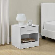 [en.casa]® Comodino da letto bianco con cassetto como letto tavolo d´appoggio