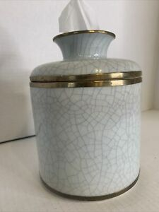 Porcelain Crackle Pattern Tissue Holder Jar Cover Kleenex Keeper Box
