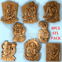 3d STL models 8 pcs set for CNC Router Artcam Aspire Cut3d VCarve Pro