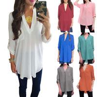Plus Size Chiffon Women Summer Long Sleeve Oversized Shirt Casual Blouse Tops