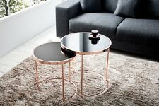 Designer Coffee Table Set of Two Copper with Glass Zigon Repro Round