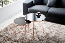 Designer Couchtisch 2er Set kupfer mit Glas Tisch Beistelltisch Zigon REPRO Rund