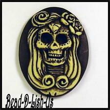 2 x Day of the Dead Lady Tattoo Cameo 40x30mm Gothic Rockabilly Pendant Cabochon