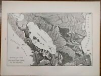 """Vintage 1900 NICARAGUA CANAL Atlas Map 14""""x11"""" ~ Old Antique BIRDS EYE VIEW"""