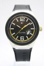 New Tommy Hilfiger Black Rubber Band Date Men Dress Watch 45mm 1790724 $95