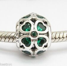 GOOD LUCK CLOVER GREEN CZ CHARM Bead Sterling Silver .925 For European Bracelets