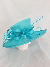 Turquesa Grande Ala endurecidas Sombrero Boda Carreras Ocasión madre de la novia