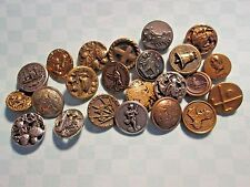 VINTAGE Buttons*Lot of 23 Small/Medium METAL PICTURE BUTTONS*assorted topics