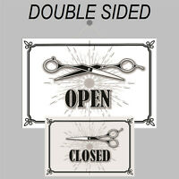 Retro Open and Closed sign double sided 9500 Old Barber Shop Hairdresser design