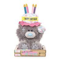 "Me to You 7"" Happy Birthday Cake Hat Plush Bday Gift In Box - Tatty Teddy Bear"