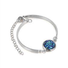 Elegant Girls Glitter Natural Geode Stone Bangles Rhinestone Pave Bracelet Hot