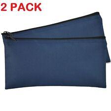 Deposit Bag Bank Pouch Zippered Safe Money Bag Organizer in Navy Blue 2 QTY Pack