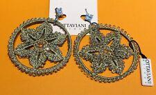 Ottaviani Bijoux Gold Tone Crystal Flower Crochet Hoop Earrings