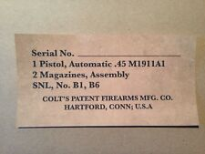 Colt M1911A1 WW2 LABEL STICKER 45 ACP 1911 A1 US ARMY Pistol box markings Colt