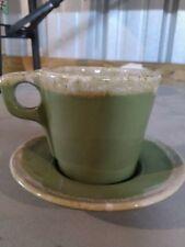 Hull Green Drip Coffee/Tea Mug And Saucer Pottery, Vintage, Collectible, USA