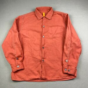 Robert Comstock Vertical Men's Large Button Up Orange Shirt