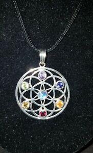Sterling Silver Chakra Pendant mystical reiki mandala 7 gemstones flower of life