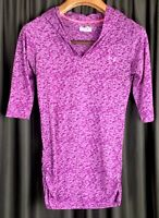 Women's Under Armour Purple Heat Gear Hooded Active Long Sleeve Shirt Top Small