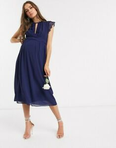 TFNC bridesmaid maternity  lace detail mini bridesmaid dress in navy size 10