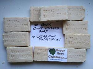 10 BARS SPEARMINT EUCALYPTUS GOAT MILK SOAP HAPPY GOAT CREAMERY CHEAP BULK