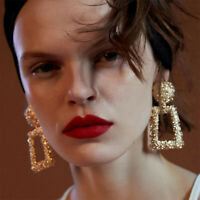 New ZA Women Gold Silver Geometric Statement Drop Dangle Earring Wedding Jewelry