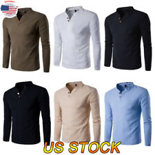 Us Men Fashion Long Sleeve Blouse Slim Fit V Neck T-shirt Muscle Tee Casual Tops