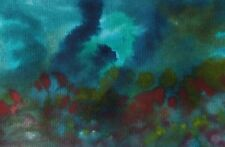 "UNDERWATER SEA Original Watercolor Abstract Painting 4""x6"" Julia Garcia OOAK NEW"