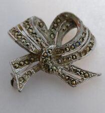 Vintage marcasite bow brooch