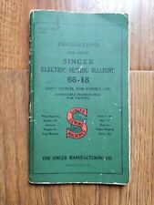 SINGER Electric SEWING MACHINE Model No. 66-18 Instruction Manual 1940's