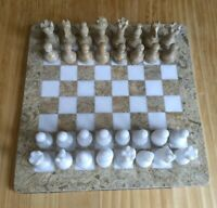 Beautiful white marble and fossil marble stone chess set.  fw1