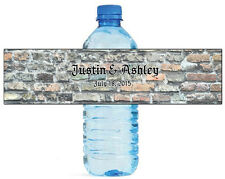 100 Rustic Brick Stone Wedding Anniversary Engagement Party Water Bottle Labels