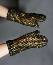 ACCESSORY GLOVES  ~BARBIE DOLL EFFIE TRINKET GOLD BLACK GLOVES CLOTHING ITEM
