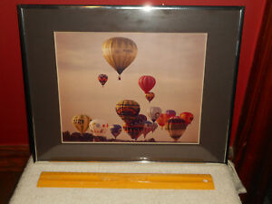 Vintage HOT AIR BALLOON Festival Color Photograph Silver Wire Brush Metal Frame