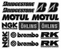 Sponsors Premium Stickers 14 Aufkleber Decals Set Yamaha Suzuki Honda /139