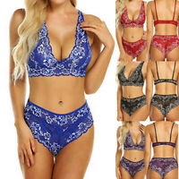 Women Lace sexy lingerie set Bra Bralette and Panty Set Deep V Babydoll Bodysuit