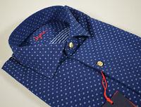 Camicia moda Ingram in cotone slim fit Blu micro disegno azzurro collo francese