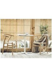 Stone and Beam Wishbone Chair Y Chair Solid Wood Dining Chairs Rattan 4pc Beech