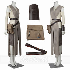 Star Wars The Force Awakens Rey Cosplay Costume Outfit +Bag+Belt Full Set