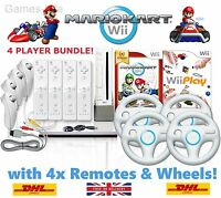 Wii Console MARIO KART > 4 Player Bundle, 4 Remotes / Wheels + 10 GAMES + GIFT!