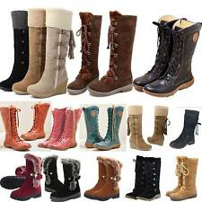 Womens Mid Calf Snow Boots Fleece Lined Ladies Thermal Shoes Size Winter Warm