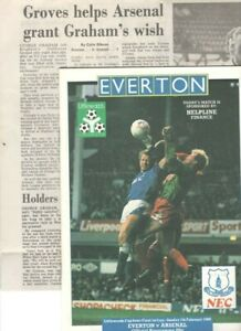 EVERTON v ARSENAL (LEAGUE CUP S-FINAL 1st Leg) 1987/88 + NEWSPAPER REPORT