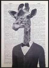 Giraffe Print Vintage Dictionary Page Wall Art Picture Hipster Animal Bow Tie