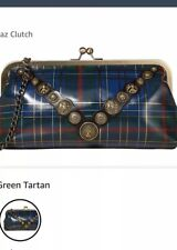 Patricia Nash Potenaz Clutch Blue Green Red Leather Tartan Plaid NWT $129