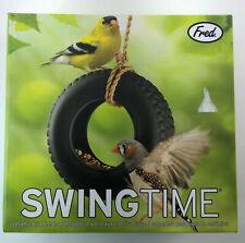 Genuine Fred SwingTime Ceramic Bird Feeder Black Tire Swing with Rope