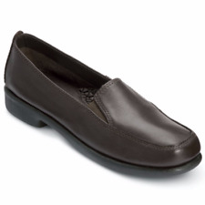 """Hush Puppies® """"Heaven"""" Ladies Leather Casual Slip-On Shoes Black 10M / Brown 10W"""