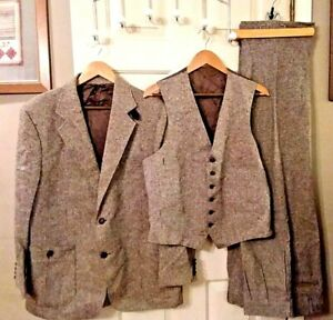 Vintage 70s Men's Brown Tweed Three-Piece Suit, The Gallery By Haggar, Very Nice