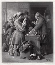 "Fascinating WILLIAM MULREADY 1800s Engraving ""Wedding Preparations"" Signed COA"