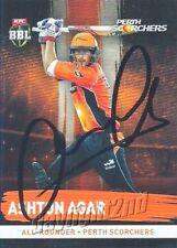 ✺Signed✺ 2016 2017 PERTH SCORCHERS Cricket Card ASHTON AGAR Big Bash League
