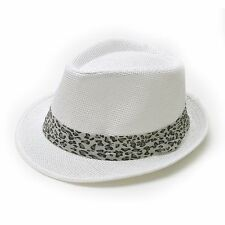 Unisex Straw Fedora Hats Leopard Band Trilby Cuban Short Brim Hat - 179